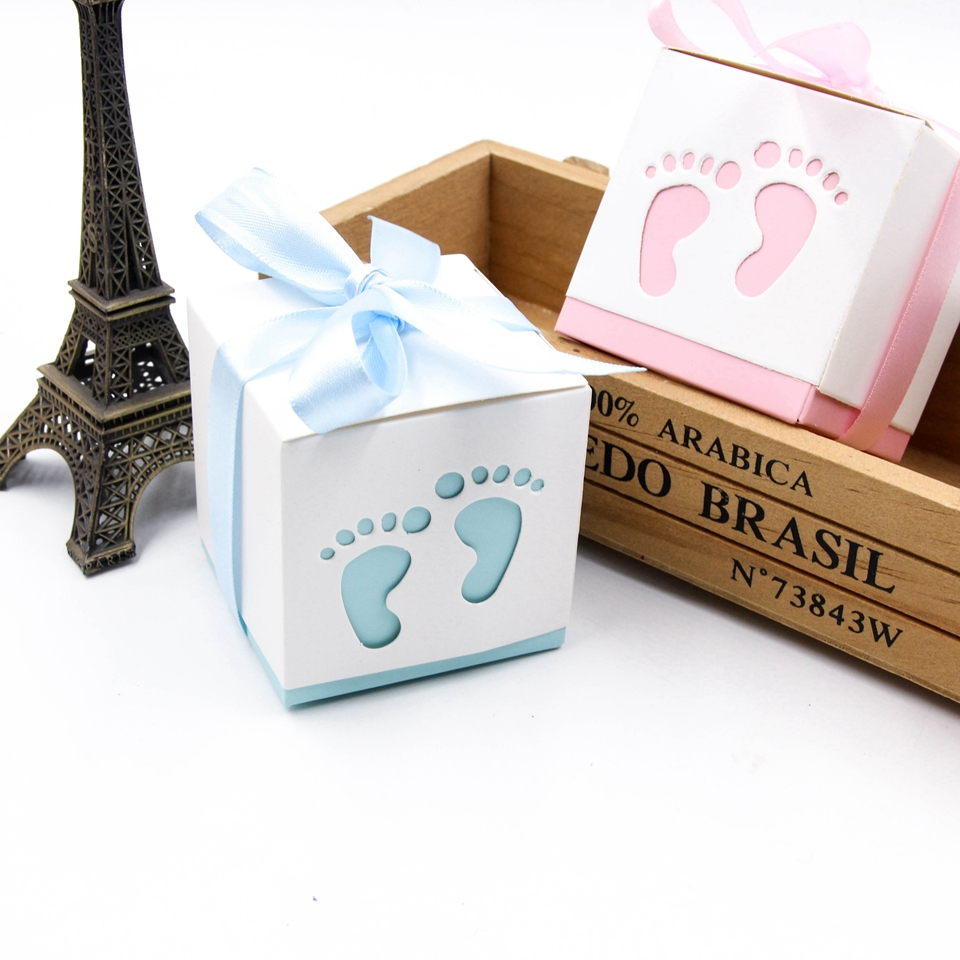 6pcs/lot Candy Gift Boxes Hollow Foot Cute DIY Paper Box Kids ...