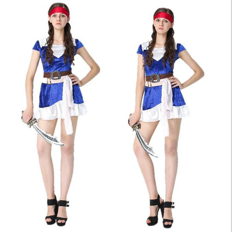Halloween Adult Women Pirates of the Caribbean Costumes Cosplay Fancy Carnival Performance Dress(No weapons)