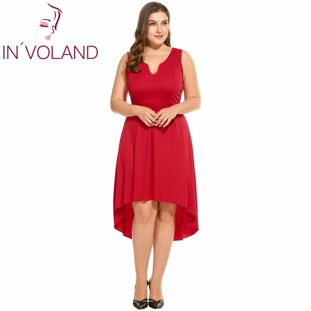 5745658af63ca IN'VOLAND Plus Size Women Dress L-4XL Notch Neck Sleeveless High Low Hem  Fit and Flare Tank Midi Party Dresses Vestidos Big Size