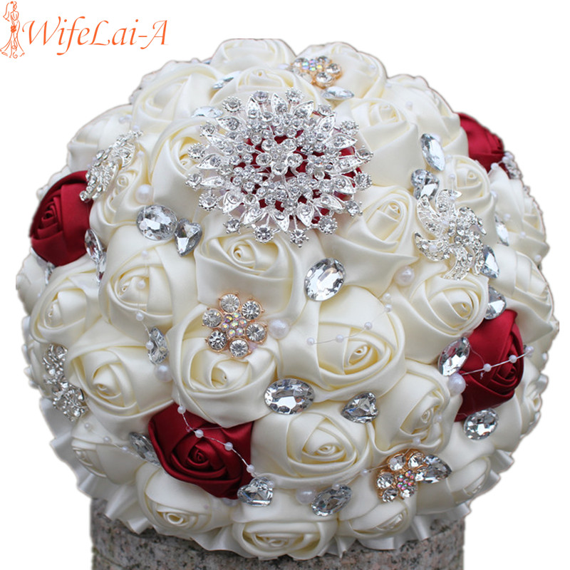 wifelai a discount price beaded brooch cream bride bridal wedding bouquet bridesmaid wine red ivory