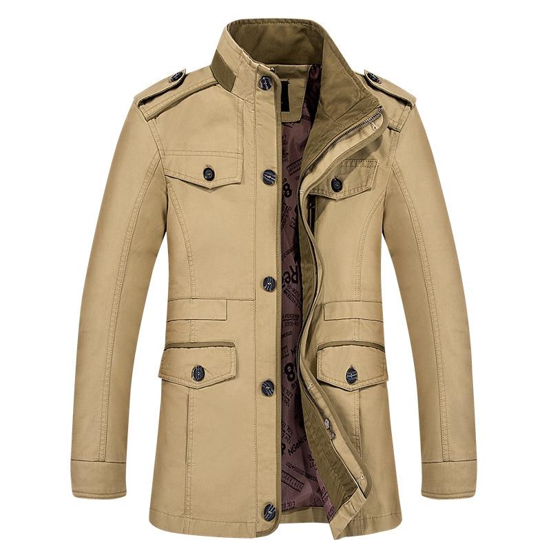 Men Autumn Winter Warm Pure Cotton Coats Business Wear Clothes Long Jackets Plus Size Parka Men Winter Costume Military Jackets