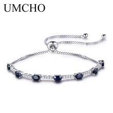 ФОТО umcho 2.45ct luxury natural blue sapphire bracelet  for women 925 sterling silver jewelry gemstone romantic wedding love gift