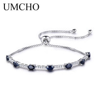 UMCHO 2.45ct Luxury Natural Blue Sapphire Bracelet For Women 925 Sterling Silver Jewelry Gemstone Romantic Wedding Party Gift