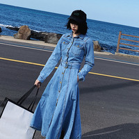 Europe and America Style Denim Dress Spring Autumn Long Sleeve Single Breasted Jeans A line Swing Dress Women Clothing