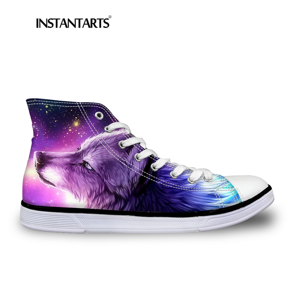 INSTNTARTS Universe Star Women Casual Flats Shoes Cool Animal Purple Wolf Print Woman's High-top Vulcanize Canvas Shoes Sneakers поло print bar black wolf