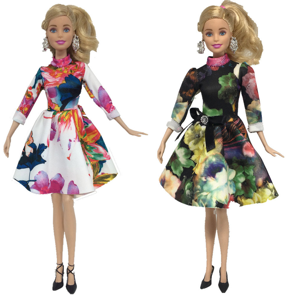 NK 2 Pcs/Set Doll Dresses Beautiful Handmade Party ClothesTop Fashion Dress For Barbie Noble Doll Best Child Girls'Gift nk 2018 newest doll dress beautiful handmade party clothestop fashion dress for barbie noble doll best child girls gift 043a