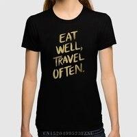 Marka giyim Satış kız t gömlek Iyi Yemek Seyahat Genellikle Altın kısa O boyun Rahat Pamuk tees homme Giyim üzerinde