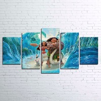 Canvas Pictures HD Printed Kids Room Home Decor Wall Art Frame 5 Pieces Moana Painting Ocean