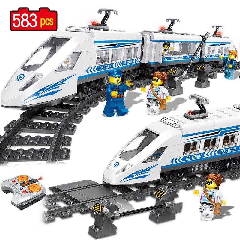 Ville RC Série Ferroviaire Compatible Legoed Technik Gare Ferroviaire à grande vitesse Blocs De Construction 583 pièces Briques Jouets Pour Les Garçons