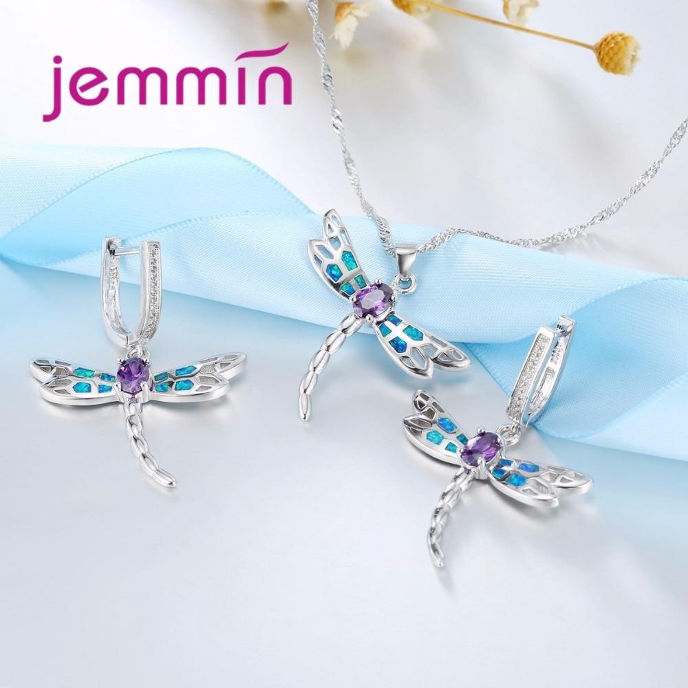 Jemmin Beautiful Dragonfly Jewelry Set Blue Fire Opal Purple CZ ...