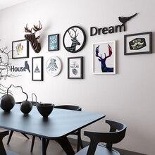 Nordic Creative Decoration Combine Photo Frame Living Room Bedroom Black White Elk Art Picture Frame for Home Wall Decoration