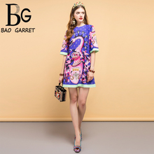 Baogarret New Summer Fashion Designer Vintage Dress Womens Gorgeous Beading Animal Printed Elegant Mini Vacation Dresses
