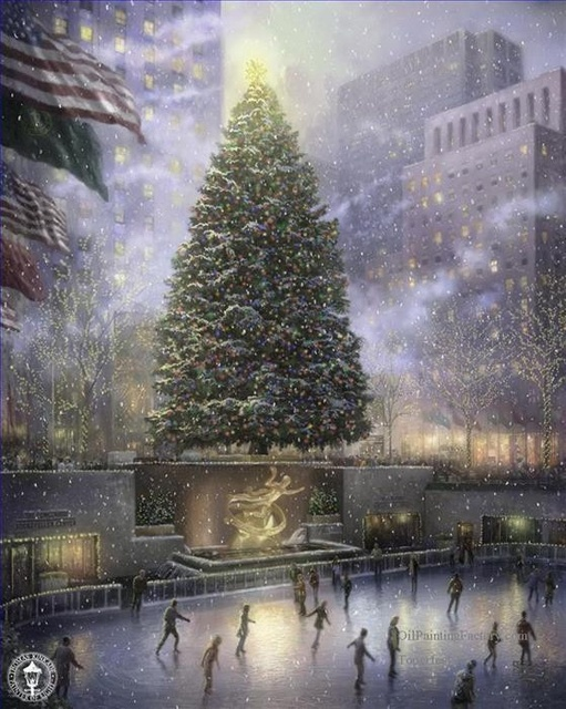 thomas kinkade christmas in new york christmas painting holiday gift