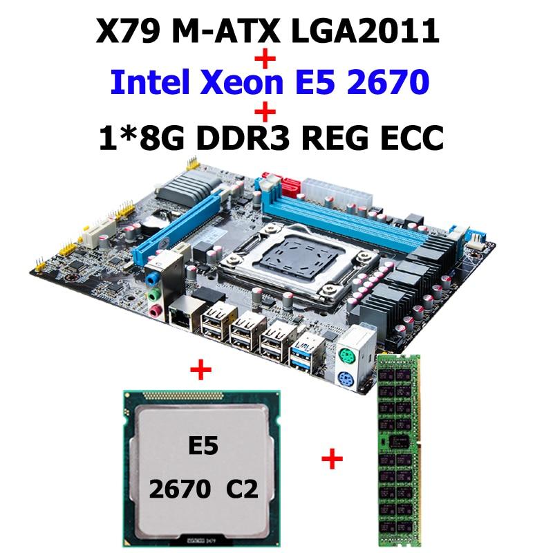 цены New arrival HUANAN X79 motherboard CPU memory combos X79 LGA2011 motherboard CPU Intel Xeon E5 2670 SROKX RAM 8G DDR3 REG ECC