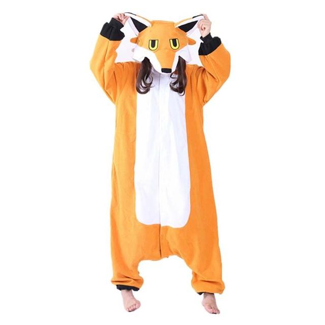 Fleece Nick Fox Onesie Adult Pajamas Cartoon Orange Lowrie Sleepwear Costume Women Cosplay Winter Warm Pyjama Kigurumi Onesies