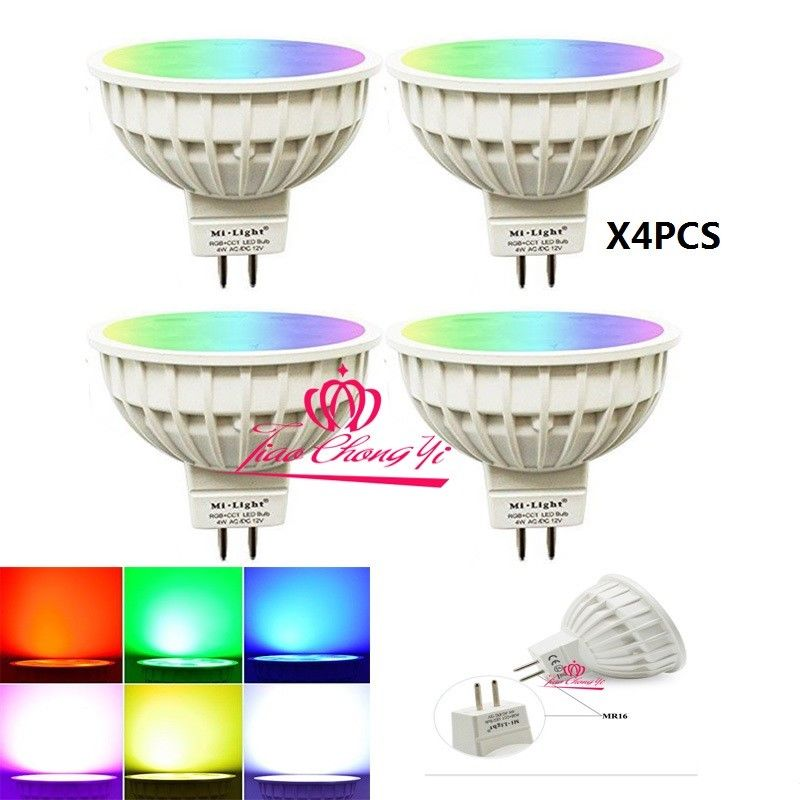 где купить 4x Mi light Dimmable MR16 4W Led Bulb RGB+CCT LED Spotlight Smart Led Lamp with дешево
