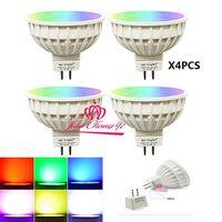 4x miライト調光可能なmr16 4ワットled電球rgb + cct ledスポットライトスマートledランプ付