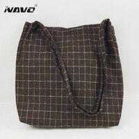 Women Woolen Cloth Handbag Winter Shoulder Bags Plaid Tote Bag Japanese Korean Style Foldable Shopping Bag