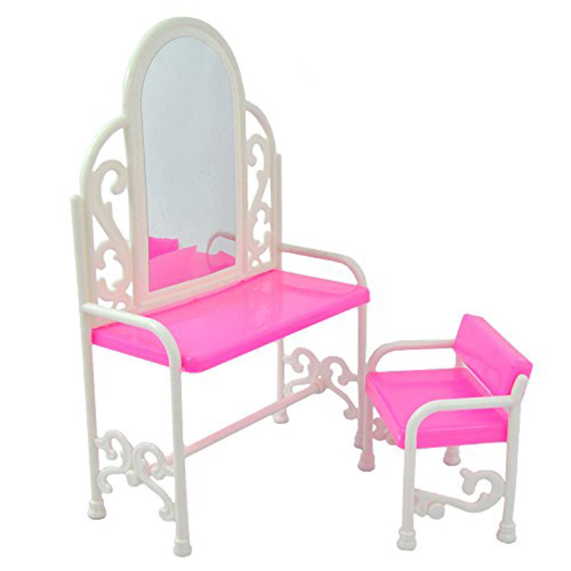 Leadingstar Plastic Pink Fashion Dressing Table And Chair Set For Dolls Bedroom Furniture Hot