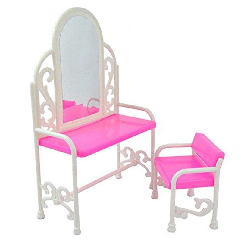 Leadingstar plástico Rosa vestidor moda mesa y sillas para Muñecas ...