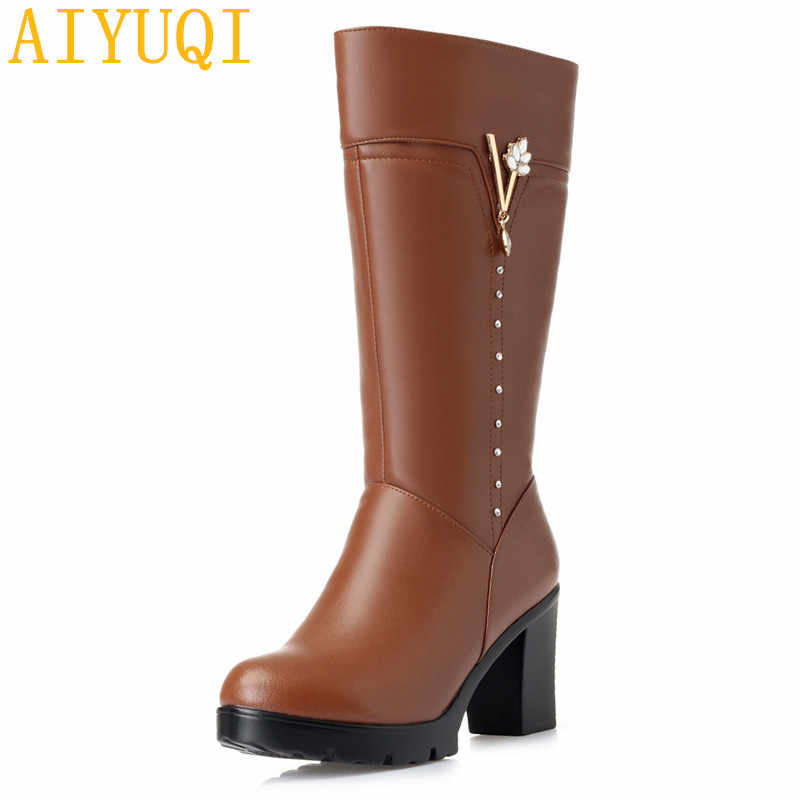 AIYUQI/зимние ботинки на платформе; Новинка 2019 года; женские модельные ботинки из натуральной кожи; теплые шерстяные зимние ботинки; Женская Блестящая обувь на высоком каблуке
