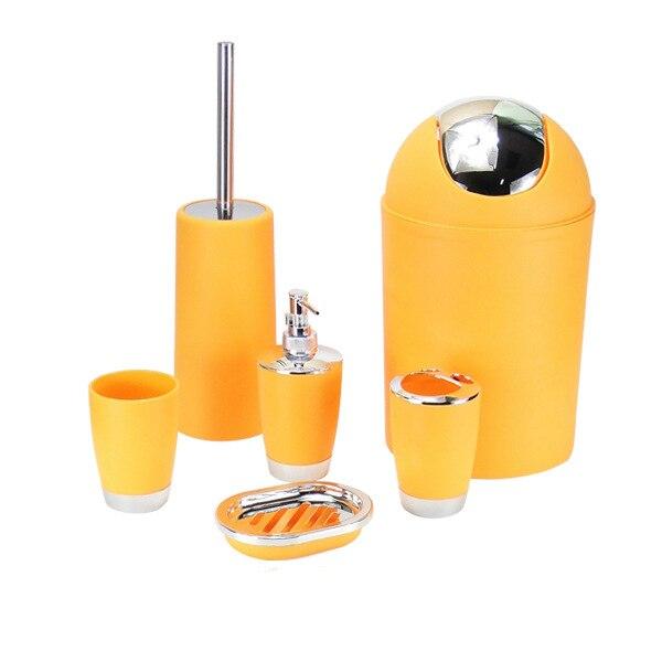6pcs/set Solid Bathroom Accessories Kit Wash Gargle Suit Set Toilet Sope  Dishes Dispenser Toothbrush