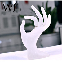Free Shipping OK Hand Frosted White Rings Bracelet Stand Holder Rack Jewelry Display Case In High