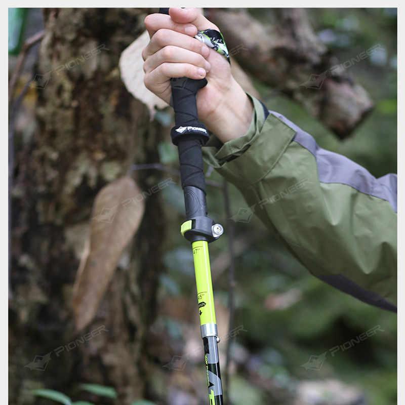 Pioneer fibra de carbono caminhada trekking pólos ultraleve dobrável dobrável trailing caminhadas bengalas