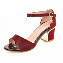 Big Size 32-43 Open toe Women's Sandals Casual Thick Med Heel Summer Shoes Woman Ankle Strap Sandalias de Mujer