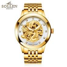 2016 Мода простой стильный Топ Люксовый бренд SOLLEN мужские Часы Из Нержавеющей Стали ремешок автоматические движения механические часы человек