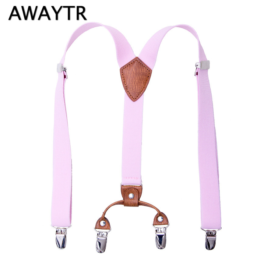 AWAYTR 60 Cm Suspensorio 4 Clips-on Elastic Braces Bretelles Kids Suspenders For Shirt Pink White Girls Boys Fashion Accessories