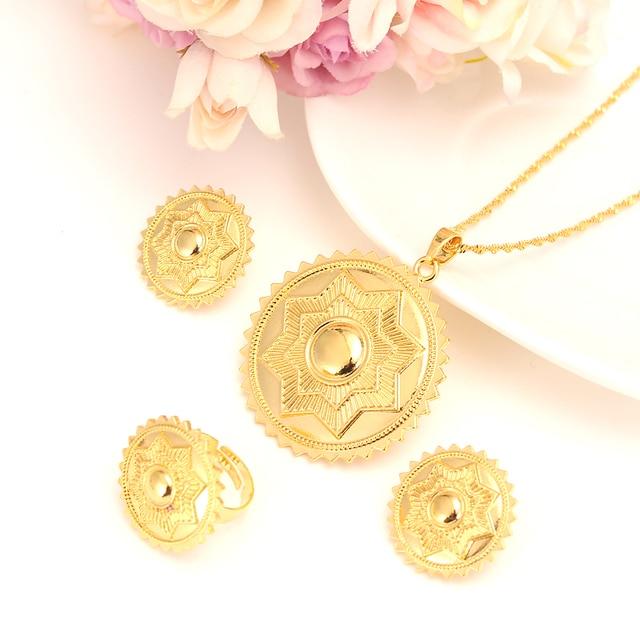 22 K Solid Gold Filled Star Polka Dot Jewelry Set Habesha Eritrean Women Wedding Fashion Ring Earrings Pendant