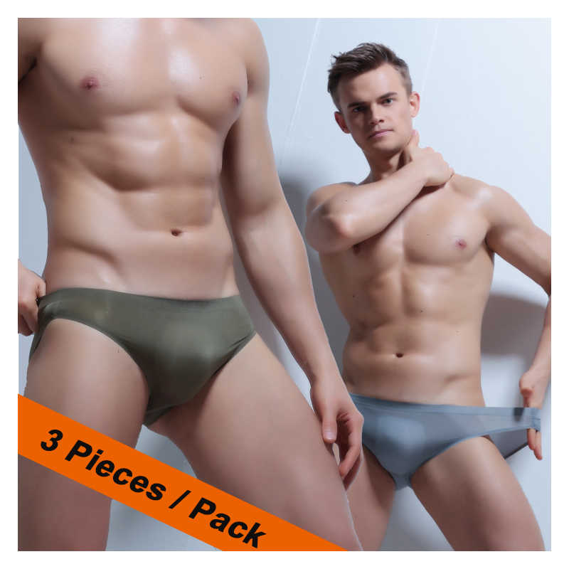 97304ef018e Men Briefs Sexy Transparent Underwear XXXL Penis Low Waist Ice Silk Briefs  Nylon Bikini Mens Pouch