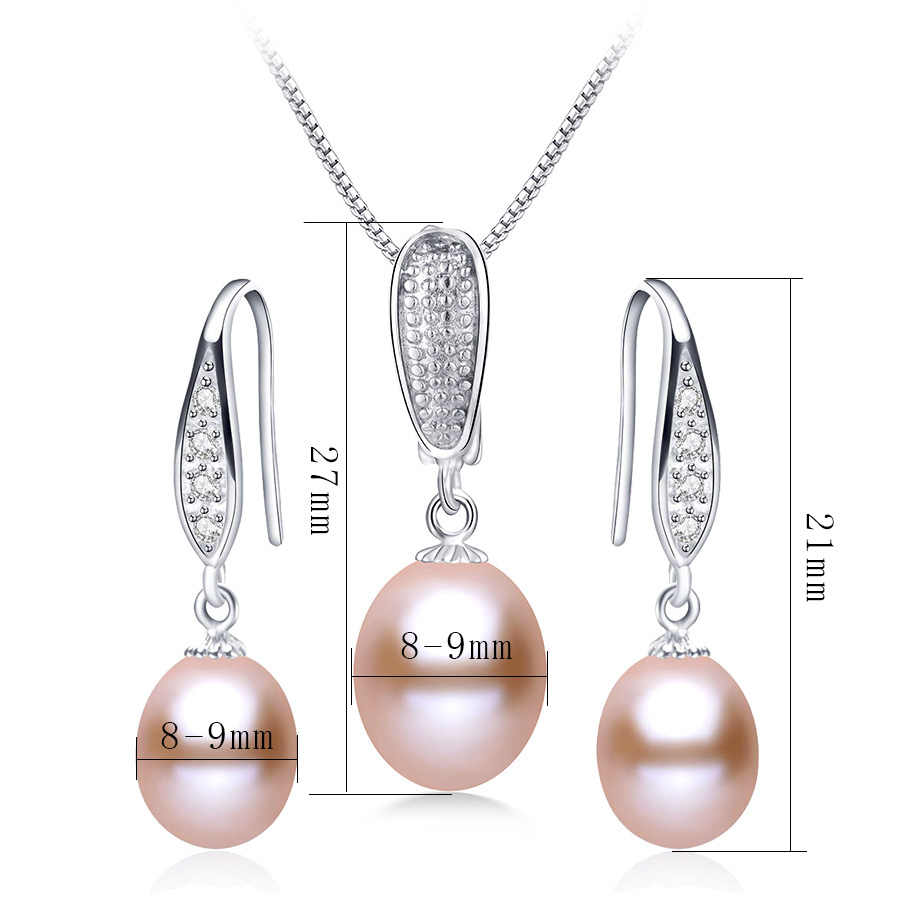 Women Classic Natural Pearl Jewelry Sets High Quality 925 Sterling Silver Earrings+Pendant Fashion Freshwater Pearl Jewelry 45