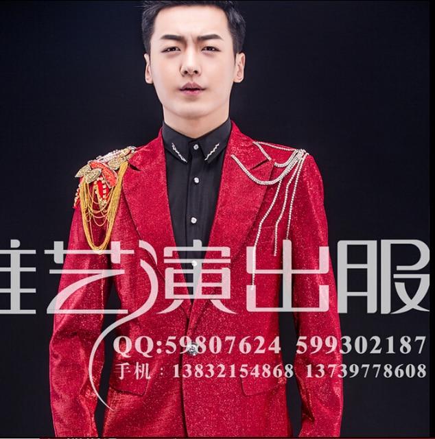 Hombres acoger nuevo macho etapa cantante traje cadena de realizar ropa danza moderna trajes del club nocturno ropa