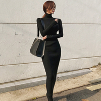 Turtleneck Knitted Sweater Dress Women Autumn Spring Noodles Elastic Long Sleeve Bodycon Dress Black Sexy Winter Dress