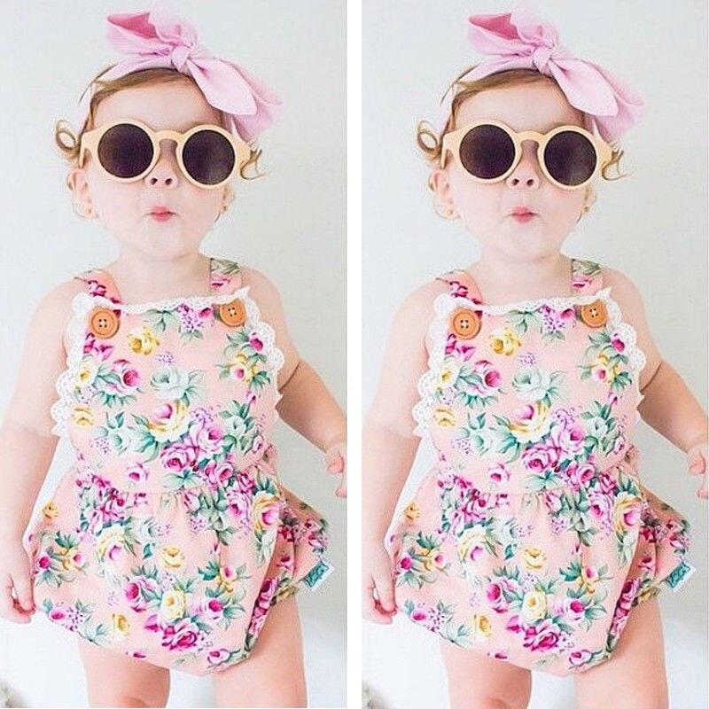 US Lace Infant Baby Girl Floral Strap Romper Bodysuit Jumpsuit Clothes Outfits