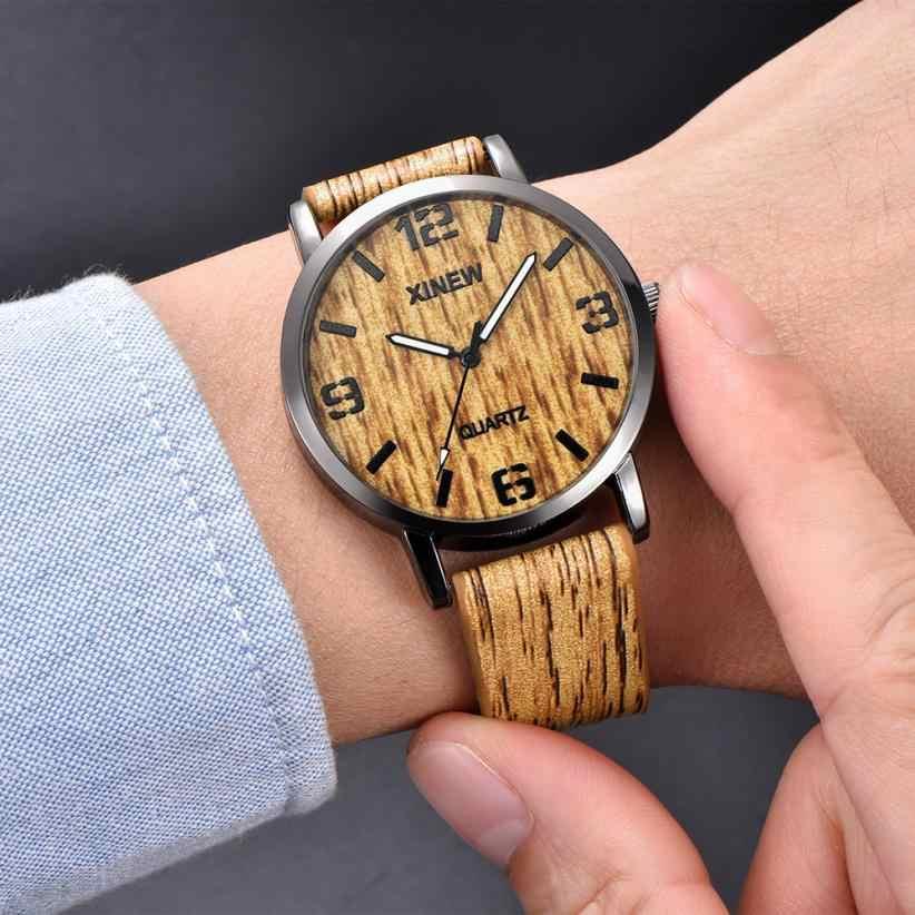 Reloj con textura de madera para hombre y mujer, reloj de cuarzo de cuero Retro de imitación de madera, relojes para hombre, reloj de lujo para hombre