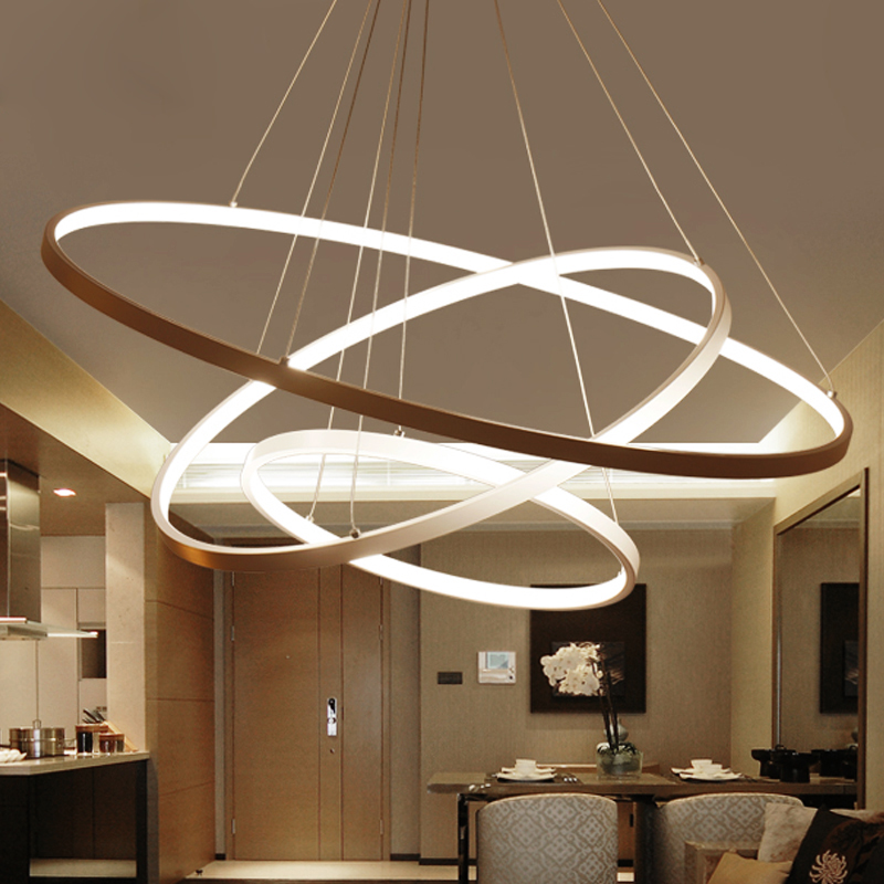 US $154.0 56% OFF|Creative led living room chandeliers modern minimalist  personality art golden circle round ring bedroom restaurant lamps led-in ...