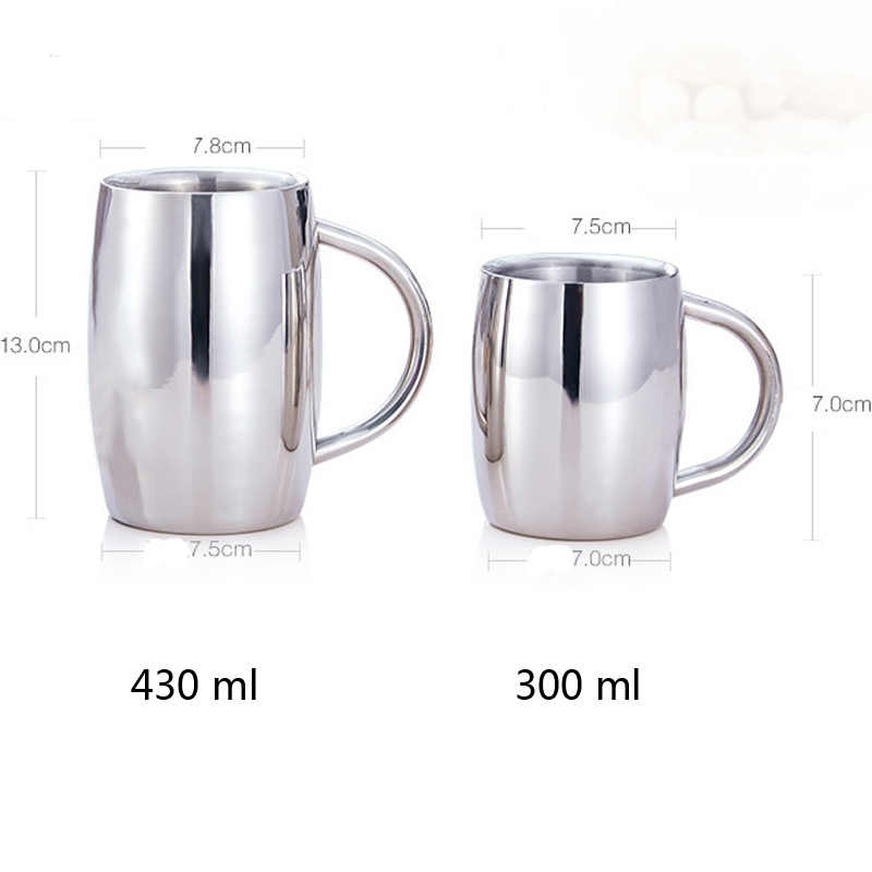 Beer Mug Double Wall stainless steel tumbler insulated Coffee Mug Tea Cup Drinkware tasse caneca criativa cerveja 300 ml 430 ml