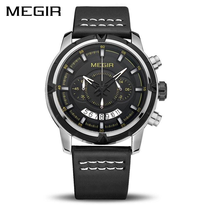 MEGIR Sport Men Quartz Watch Multifunction Chronograph Fashion Wrist Watches Clock Men Relogio Masculino with Leather Strap 2047 недорго, оригинальная цена