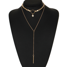 Fashion Double-Strand Layered Gold Color / Silver Color Choker Necklace for Women Sexy Star Pendant Necklaces Boho Jewelry Gift
