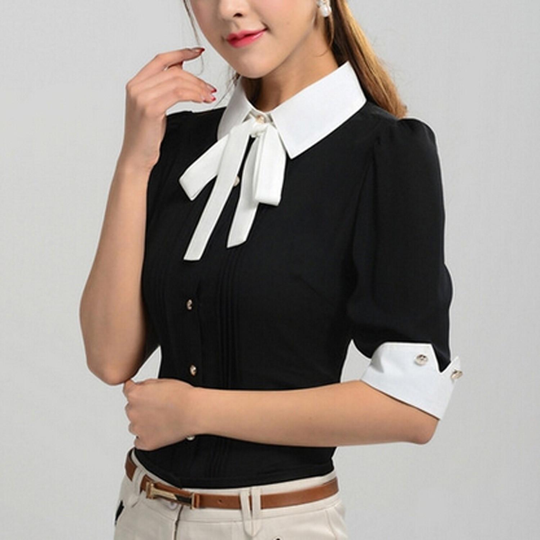 Hot New Work Wear Office 2016 Shirt Women Tops Black Pink Blue ...