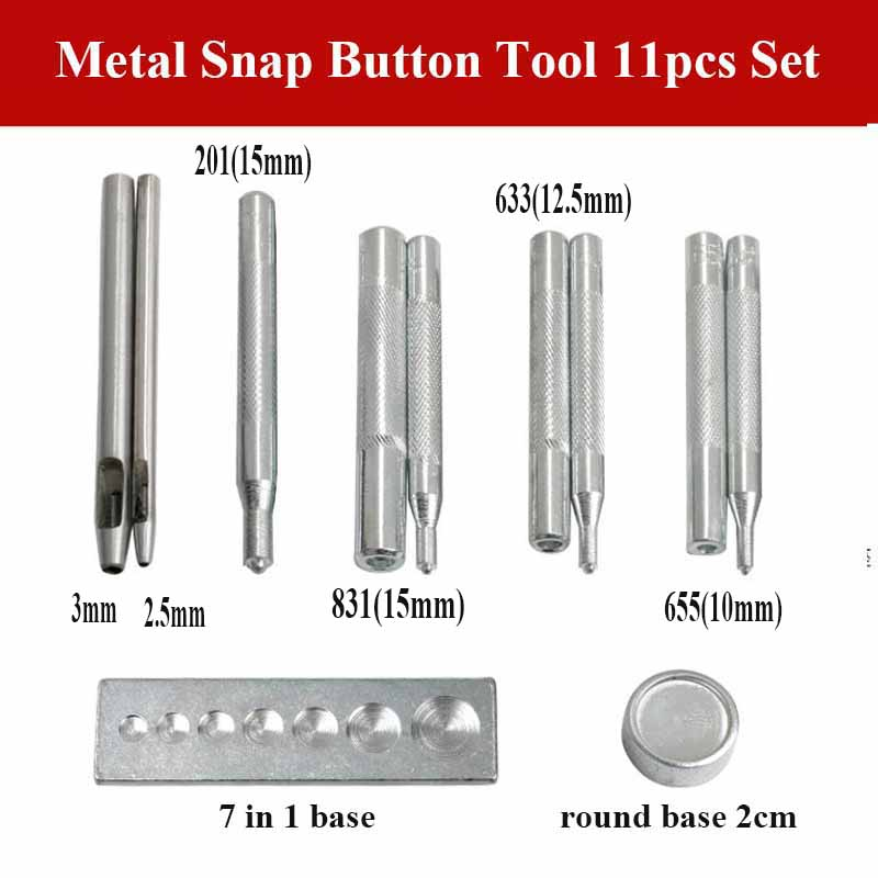 Apparel Sewing & Fabric Sincere 11pcs Metal Button Installation Tool Kit For Size 10mm 12.5mm 15mm 655 633 831 201 With Diy Leather Crafts Hand Punch 2.5mm 3mm Convenient To Cook Arts,crafts & Sewing