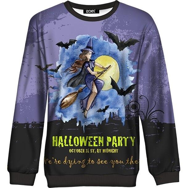 Women Halloween Sweatshirt 2018 Autumn Winter Witch Broom Bat Print Pullover Top for Girls Casual Oversized Hoodie Female Purple