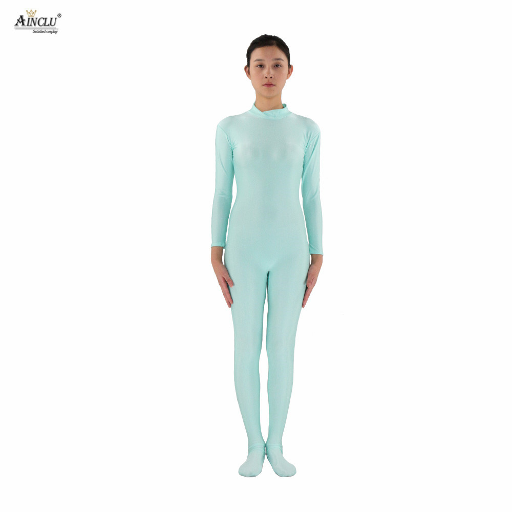 Ainclu Women Spandex Nylon Lycra Aqua blue Head-handless Body Second Skin Tight Color Custom Skin Suit  Cosplay Costume Zentai
