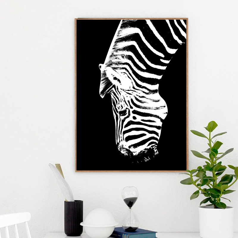 Black and White Oil Painting Zebra Animal Wall Pictures For Living Room Canvas Art Prints Posters Wall Decoration Painting in Painting Calligraphy from Home Garden