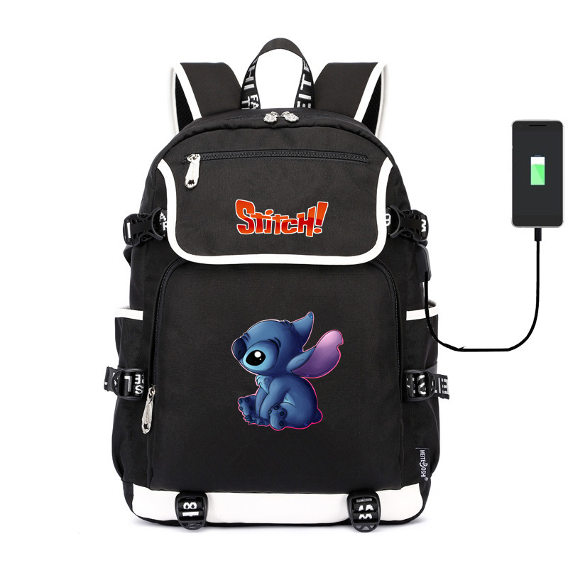 Children's Lilo And Stitch shoulder bag School Bag usb charging canvas Backpack Laptop travel bag rucksack for teenagers(China)
