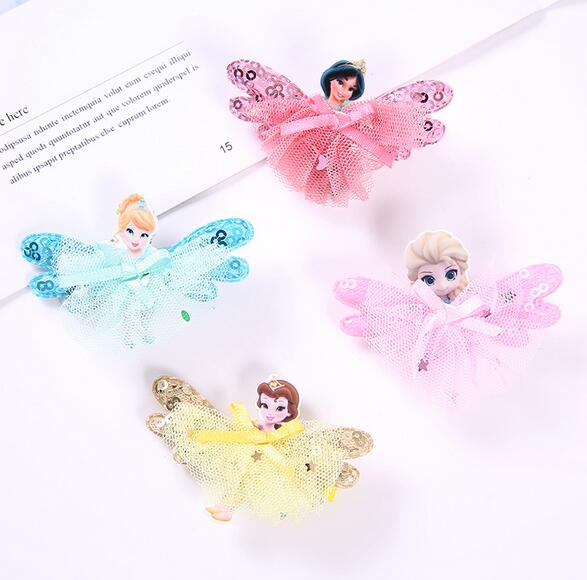 New Children Hair Ornaments Acrylic Exquisite Cartoon Frozen Queen Princess Lace Hairpin Girls Headdress Baby Hair Clips in Hair Accessories from Mother Kids