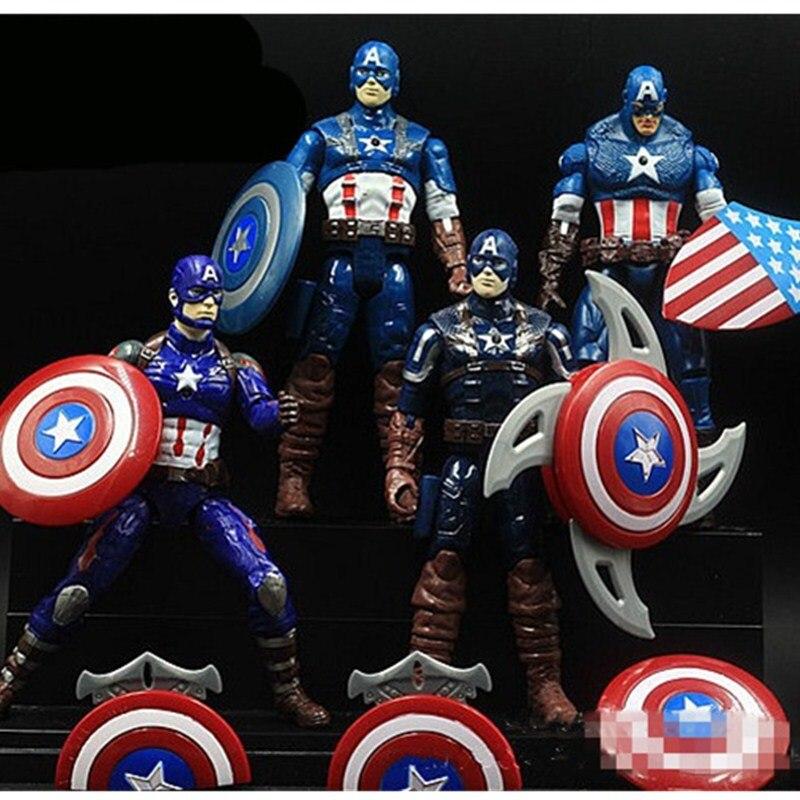 Avengers 3 Captain America 6 Shield Steve Rogers Superhero 4pcs/set PVC Action Figure DC Comics Collectible Model Toy Doll L2062